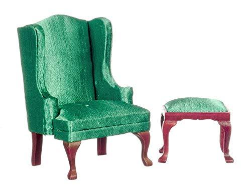 Melody Jane Puppenhaus Miniatur Möbel Queen Anne Smaragd Ohrensessel Sessel Hocker