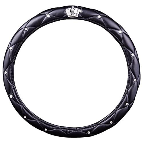 Dswe Corona de Coche de 38 cm con Cubierta de Volante de Diamante Accesorios de Coche Sin Productos químicos irritantes Cubierta de Volante - Negro - 38cm