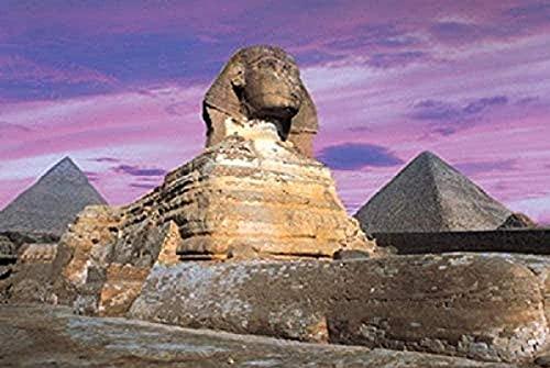 Lacvik Rompecabezas Pirámides de Giza Papermini 1000 Piezas Rompecabezas Egipto Magníficos Edificios Antiguos Rompecabezas Juguetes Adultos Relax Juegos de Rompecabezas 26x38cm