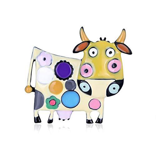 Jiaojie - Spilla in lega di mucca, con motivo a cartoni animati, con olio e carino, accessorio per abbigliamento da donna e ragazzina