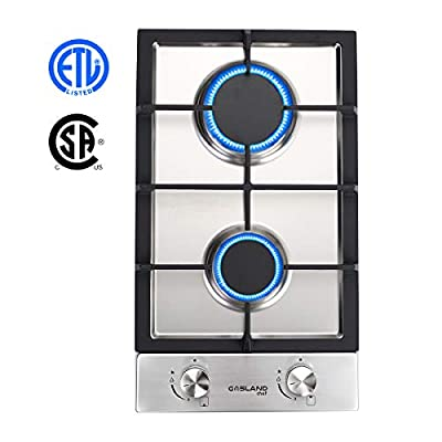 """Gas Cooktop, GASLAND Chef GH30SF 12"""" 2 Burner Built-in Gas Cooktops, Stainless Steel LPG Natural Gas Hob, 12 inch 2-burner Gas Stove Top, ETL Safety Certified, Thermocouple Protection"""