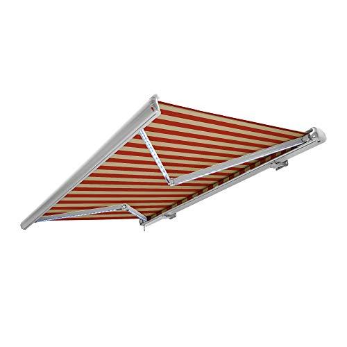Nemaxx Kassettenmarkise elektrisch Vollkassettenmarkise mit LED, Markise beige-orange, Kassette weiß, Funk Fernbedienung, wasserdicht 600x300 cm (6x3m)