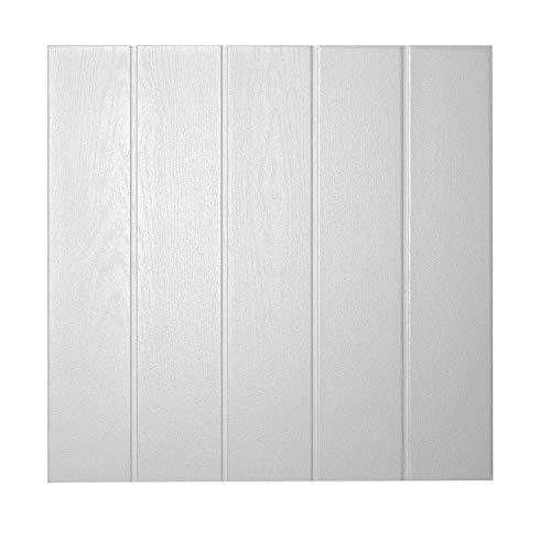 DECOSA Deckenplatten ATHEN in Holz Optik - 160 Platten = 40 m2 - Deckenpaneele in Weiß - Decken Paneele aus Styropor - 50 x 50 cm