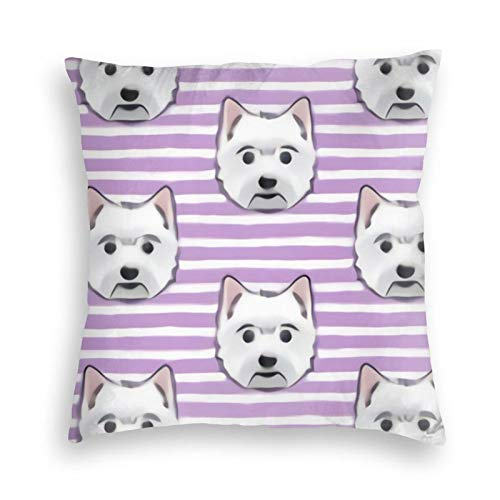 liang4268 Westie West Highland White Terrier Dogs On Purple Stripes Wiederverwendbarer Kissenbezug Wurf Sofa Kissenbezug Cartoon Samt Kissenbezug Bettkissen Autokissen Stuhlkissen(24'X24')