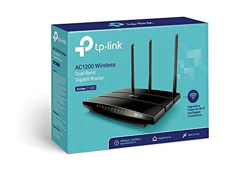 TP-Link Archer C1200 AC1200 Gigabit Dualband WLAN Router (300 Mbit/s (2,4GHz) + 867 Mbit/s (5GHz), Anschluss an Kabel-, DSL-, Glasfasermodem, IPv6, USB 2.0, Media/FTP/Print -Server), schwarz