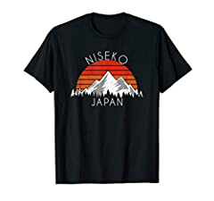 Great gift idea for a Niseko, Japan vacation, and for those that love snow, winter, exploring, skiing, mountains, hiking, outdoor adventure. Awesome vintage retro style distressed illustration featuring sunset and geometric mountain design. This Retr...