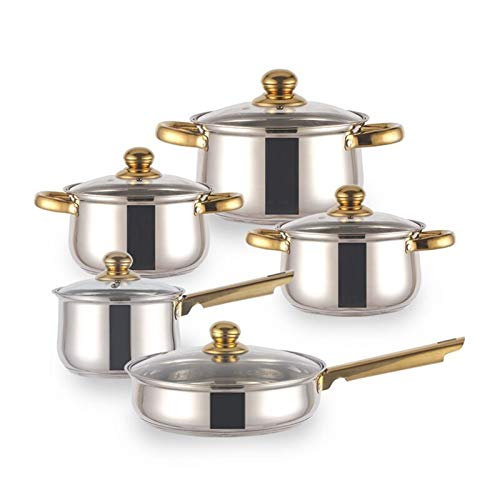 YYCHJU Cookware Set for Gas, Electric and Stovetop Cookware Set 10-Piece Stainless Steel Pot & Pan Sets Induction Safe, Saucepan, Casserole, Casserole, pan with Glass lid