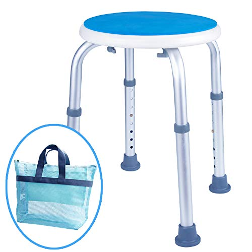Medokare Padded Round Shower Stool - Shower Seat for Seniors with Tote Bag, Shower Bench Bath Chair for Elderly, Handicap Tub Shower Seats for Adults (White Round Stool)