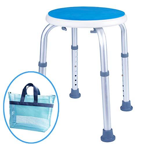 Medokare Dusche Hocker mit gepolstertem Sitz - Dusche Sitz für Senioren mit Tasche, Dusche Bench Bad Stuhl, Handicap Dusche sitzen für Erwachsene (White Round Stool)