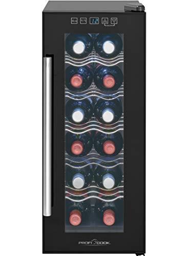 Profi Cook PC-GK 1164 Glastür-Getränke-Flaschen-Kühlschrank / 32 L / 121 kWh/LED Innenraumbeleuchtung/Sensor-Touch-Steuerung/Bedienfeld mit LED-Display/Thermoelektrische Kühlung