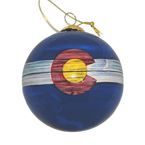 Hand Painted Glass Christmas Ornament - Distressed Colorado State Flag