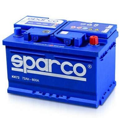 SPARCO KK72- Batería para coche, 12 Voltios 72 Amperios, tecnología de plomo y calcio, gran potencia con 600 amperios de corriente de arranque (72 Ah)