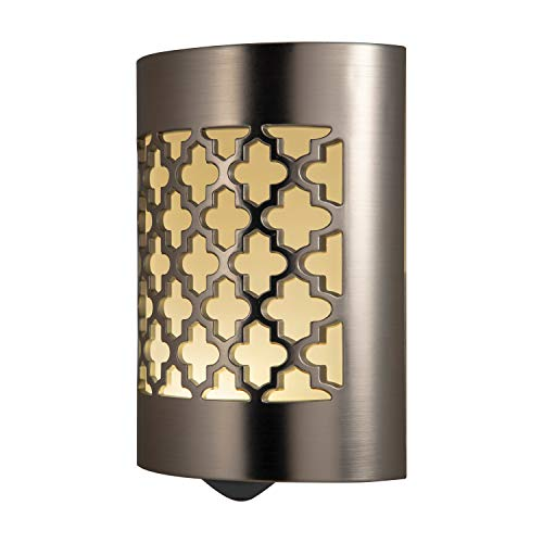 GE CoverLite LED Night Light, Moroccan, Plug-In, Dusk-to-Dawn Sensor, Home Décor, UL-Listed, Ideal for Kitchen Bathroom, Nursery, Bedroom, Hallway, Brushed Nickel, 29847