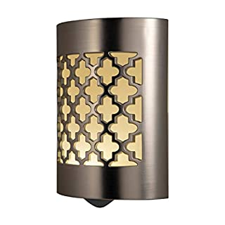 GE 29847, Plug-In, Dusk-to-Dawn Sensor, Home Décor, UL-Listed CoverLite LED Night Light, 1 Pack, Brushed Nickel   Moroccan (B015Z586HI)   Amazon price tracker / tracking, Amazon price history charts, Amazon price watches, Amazon price drop alerts