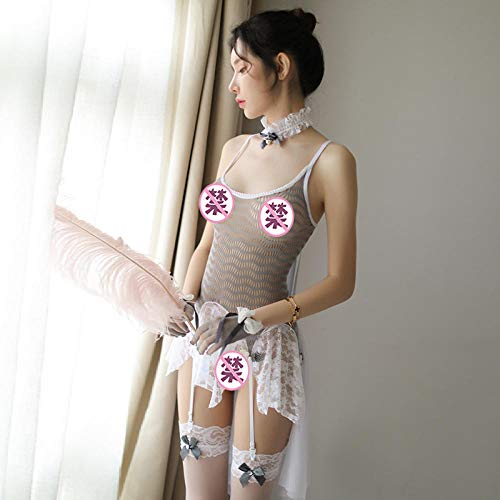 MEN.CLOTHING-LEE Ropa de Dormir para Mujer Conjuntos de lencería para Mujer Lencería Sexy Perspectiva Hueca Juego de Roles Lencería Femenina Linda Medias Femeninas Seducción Set-Grey_One Size