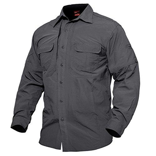 MAGCOMSEN Herren Militär Hemd Outdoor Reise Hemd Sommer Schnelltrocknendes Hemd für Herren Langarm Taktisch Hemd Leicht Angeln Arbeitshemd mit Multi Taschen Grau S