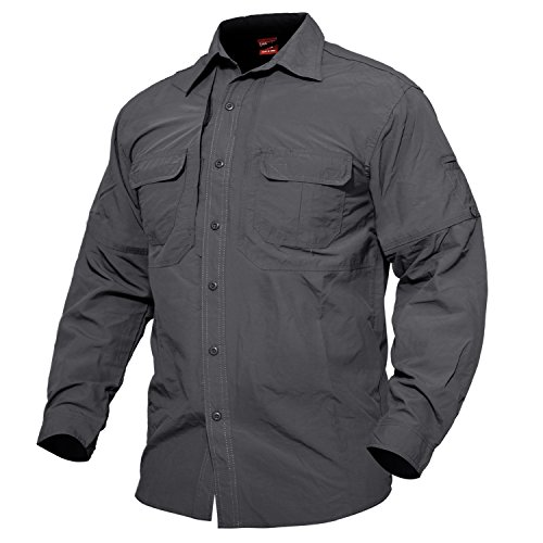 MAGCOMSEN Herren Militär Hemd Outdoor Reise Hemd Sommer Schnelltrocknendes Hemd für Herren Langarm Taktisch Hemd Leicht Angeln Arbeitshemd mit Multi Taschen Grau M