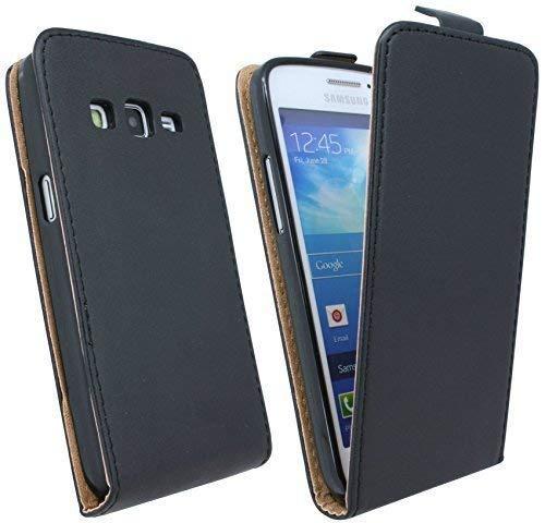 ENERGMiX Handytasche Flip Style kompatibel mit Samsung Galaxy Express 2 G3815 in Schwarz Klapptasche Hülle
