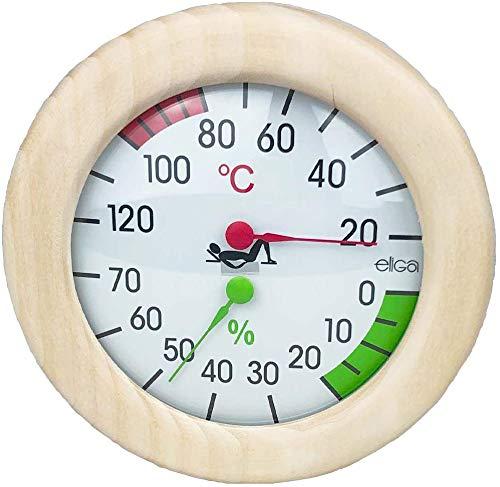 SudoreWell® Sauna Klimamesser mit Thermometer + Hygrometer im Holzrahmen Ø155mm