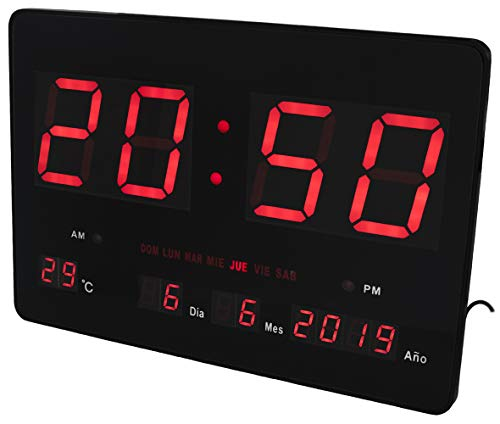 JeVx Reloj Digital de Pared Tamaño Gigante Luz Led de Color Rojo Cale
