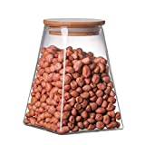 Contenitori di stoccaggio alimentari in vetro con coperchi - set di 2 cisterne da cucina - caramelle, biscotti, riso e spezie barattoli - contenitore di zucchero o farina - barattolo di cibo ermetico