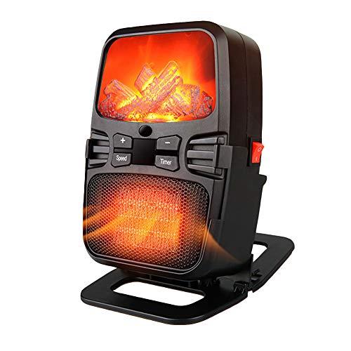 WYW 500W Mini Compacto Calefactor Termoventilador,Temporización, Control Remoto,Función Ventilación,con 2 Niveles de Potencia,Sistema de Seguridad,Muy Adecuado para Escritorios