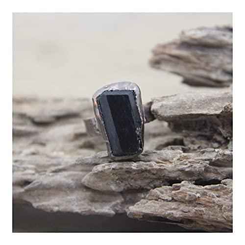 KUYIN Accesorios de Cristal Anillos de Cobre de Tourmalina Negra Raw Natural DE CUTIMIZ DE CUTIMIZ DE Cuarto Ajustable DE LA Moda DE LA Moda DE LA Moda DE LA JEYERÍA (Ring Size : Resizable)