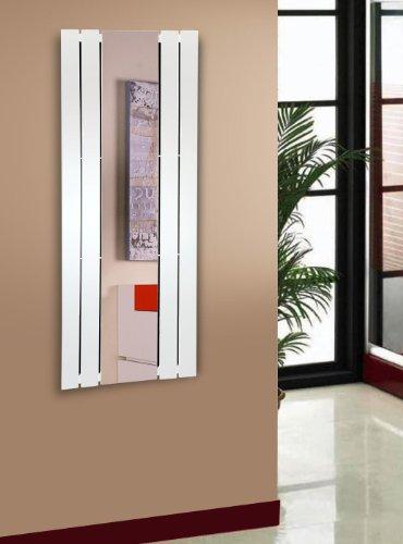 Badheizkörper Design Shanghai 2 mit Spiegel, HxB: 120 x 55 cm, 581 Watt, weiß (Marke: Szagato) Made in Germany/Bad und Wohnraum-Heizkörper (Mittelanschluss)
