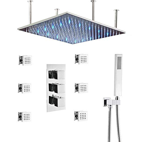 Thermostatic Shower System with Body Sprays in Chrome Finish, HOMEDEC Bathroom 20inch LED Rain Shower Faucet Mixer Combo Set with Handheld, Color Changing with Water Temperature