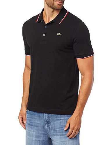 Camisa polo SPORT em piqué respirável e resistente, Lacoste, Masculino, Preto/Vermelho, M