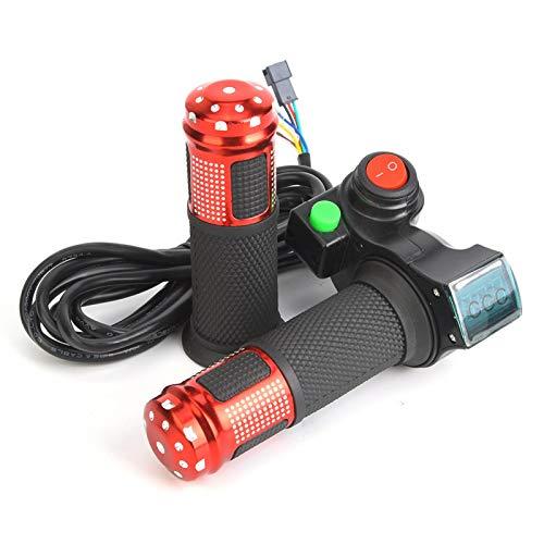 SALUTUYA Pantalla LED de Voltaje de Bicicleta eléctrica con Acelerador Giratorio para Scooter, para Varios vehículos eléctricos, Apta para baterías de Plomo-ácido/Litio/Agua/secas