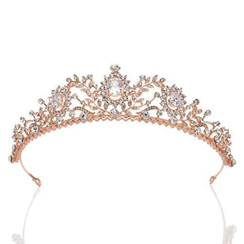 SWEETV Rose Gold Tiara for Women - Rhinestone Wedding Crown Princess Tiara Headband for Prom Birthday Costume Party