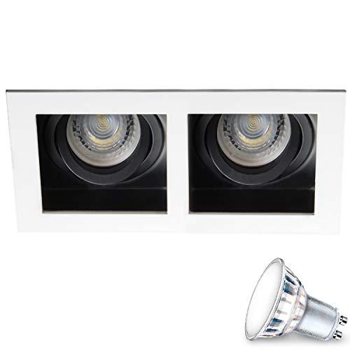 Einbauspots 2-flammig (weiss, quadratisch, schwenkbar) IP20 LED inkl. 2 X 5W Warmweiss GU10 Fassung Decken Einbaustrahler Deckenstrahler Deckenspots