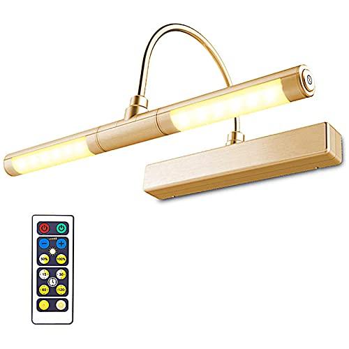 HONWELL LED Specchio Luce Senza fili a Batteria con Telecomando,Testa Girevole da 33 cm con 3 Modalità di Illuminazione,12 LED Lampada da Pittura Tavolo Moderna Lampada da Parete per Quadri,Oro Rosa