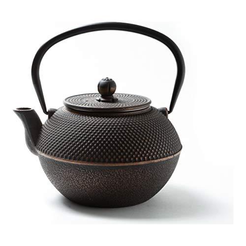 Tealøv TEEKANNE GUSSEISEN 1,1 Liter - Gusseisen Teekanne im japanischen Stil - Gusseiserne Teekanne mit Sieb aus Edelstahl - Hervorragende Wärmespeicherfähigkeit - Langlebig - Arare Kupfer