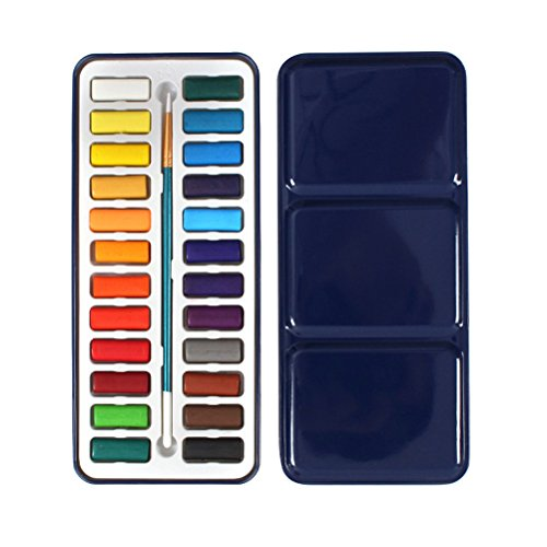 rosenice Set de peinture aquarelle Boîte de Metal d'etain de 24 couleurs de sources d'aquarelles solide avec brosse (Case in Random color)