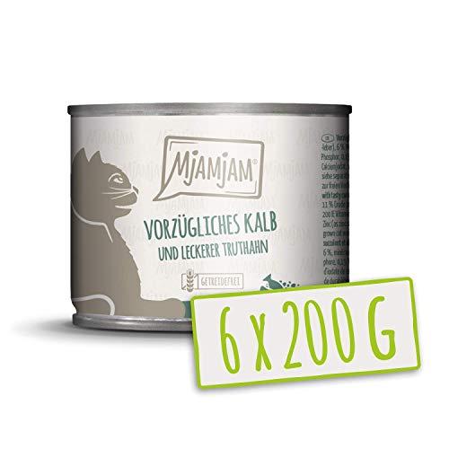MjAMjAM - Premium Nassfutter für Katzen - vorzügliches Kalb & Truthahn an leckeren Möhrchen, 6er Pack (6 x 200 g), getreidefrei mit extra viel Fleisch