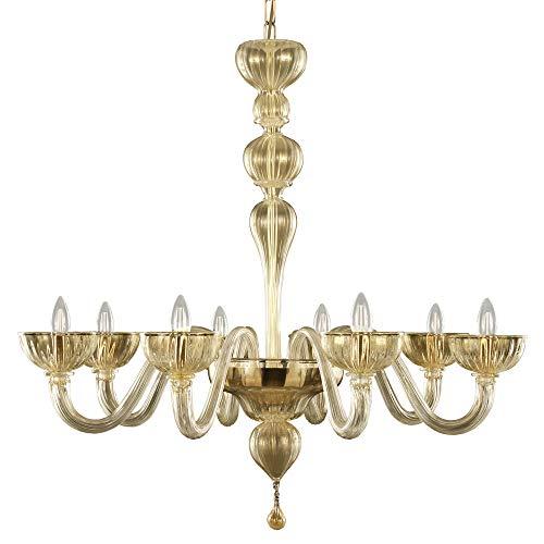 Lustre moderne 8 lumières verre murano tout or nouveau parfait et original .