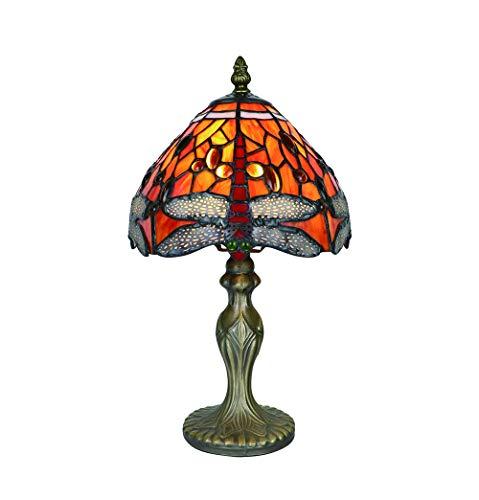 Tokira Vintage Tiffany Tischlampen Rote Libelle 8 Zoll, Tiffany Tischlampe Antik Original, Glasmalerei Lampen Schlafzimmer Nacht Lampenschirme Wohnzimmer