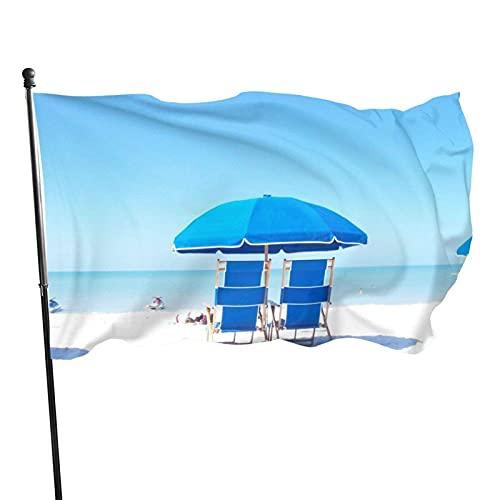 GOSMAO Bandiera da Giardino Sedia da Spiaggia Blu Colori Vivaci e Resistente allo sbiadimento UV Doppia Cucitura Banner da Giardino Bandiera stagionale Bandiere da Parete 150X90 cm