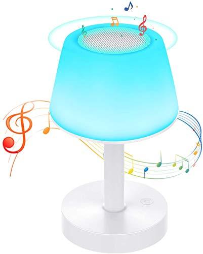 Lámpara de mesa con altavoz Bluetooth, Ranipobo USB recargable portátil + Touch Dimming RGB Color Modo, lámpara de mesita de noche, para niños, dormitorio y camping