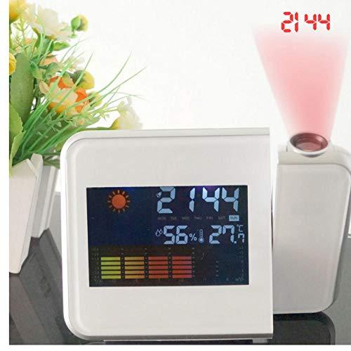ZYZYY Plastic Alarm Klok met Datum Temperatuur Vochtigheid Wakker Projector Klok Bureau Klok Digitale Weerstation LCD Snooze Alarm Klok