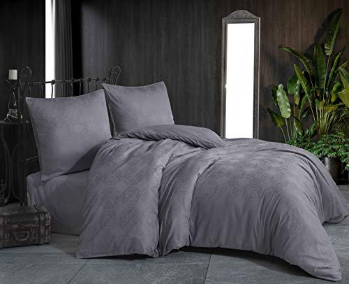 Damast Jacquard Mako Satin Bettwäsche Bettgarnitur Set Bettdeckenbezug 100 % Baumwolle Qualität mit Reißverschluss Kopfkissenbezug 80x80 cm Oeko-TEX (Damask Grau, 220 x 240 cm)