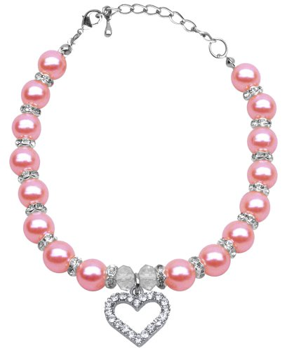 Mirage Pet Products 8 to 10-Inch Heart and Pearl Necklace, Medium, Rose