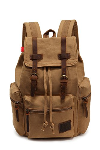 Vintage Canvas Backpack School Book Bag Casual Travel Rucksack - Khaki