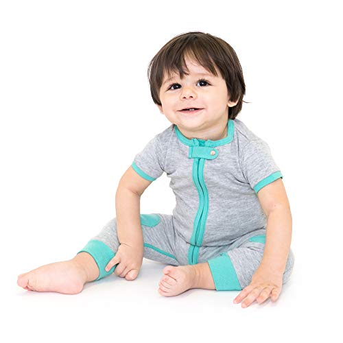 baby deedee Short Sleeve Cotton 1 Piece Footless Romper Pajama, 12-18 Months, Heather Gray/Teal