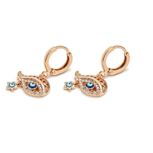 Lucky Eye Star Fatima Hand Turco Evil Eye Drop Pendientes Oro Plata Color Pequeños pendientes colgantes para mujer Joyería