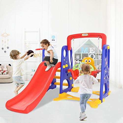 ZHIJIE 4 in 1 Children Freestanding Slide Slider with Ball Frame,Toddler Climbing and Swing Set, Garden Safety Plastic Toy Activity Center Children Climber Play Set Indoor Outdoor for 3-9 Years Old