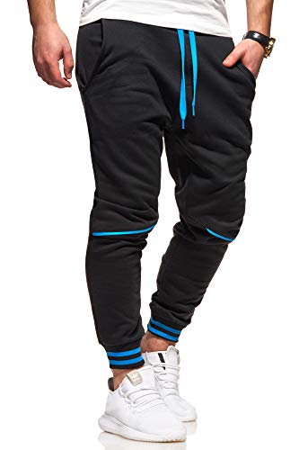 Ombre-Eight Herren Jogginghose Trainingshose Sporthose T-411 [Schwarz-Blau, XL]