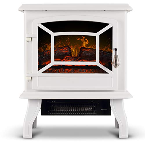 Della Freestanding 3D Infrared Electric Fireplace Stove (White) 17 Inch...
